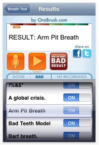 Orabrush bad breath detector pro iphone app